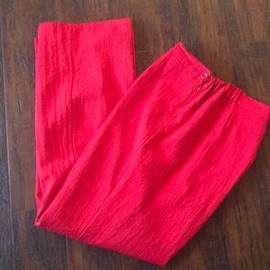 Pants - Red linen wide leg pants